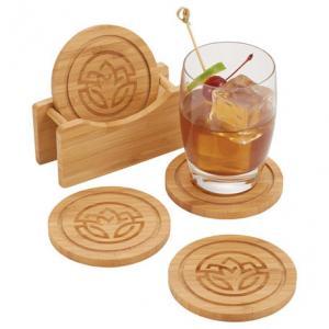 Round Bamboo Coaster Set w/ Holder