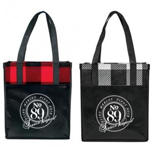 Laminated Plaid Grocery Tote
