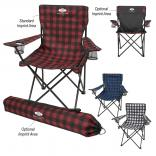 Plaid Folding Chair with Carrying Bag