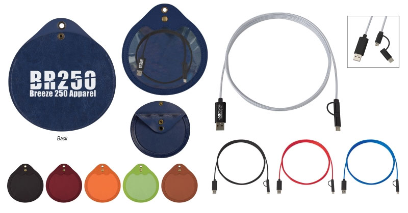 Round Tech Accessories Pouch w/ 10 Ft. Charging Cable