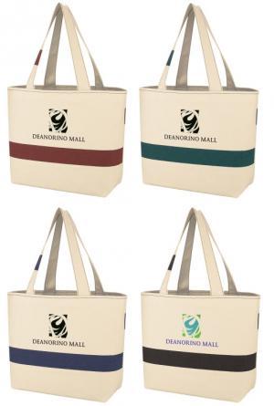Color Accent Cabana Cotton Tote Bag