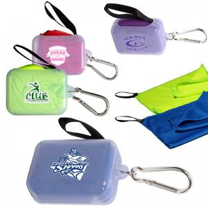 Cooling Towel in Clear Carabiner Case