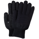Black Dotted PVC Knit Gloves