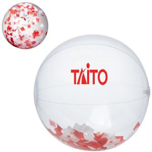"16"" Red and White Confetti Beach Ball"
