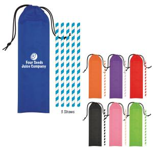 5-Pack Striped Paper Straws in Pouch