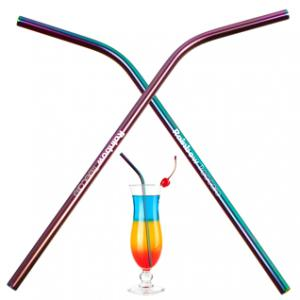Rainbow Metal Bent Straw