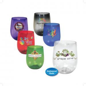 12 oz. Plastic Stemless Wine Glass, Full Color Digital