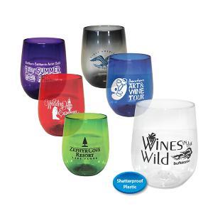 Colorful 12 oz. Plastic Stemless Wine Glass