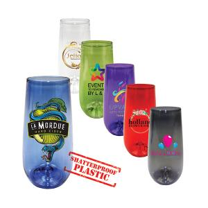10 oz. Plastic Stemless Champagne Flute, Full Color Digital