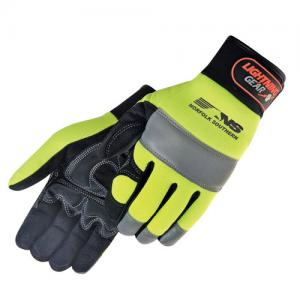 Hi-Vis Simulated Leather Reinforced Palm Mechanic Gloves