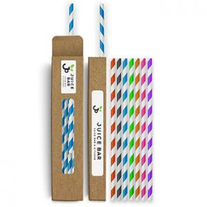 Colored Paper Straws In Box