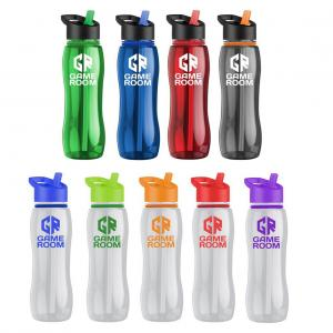 25 oz Curved Bottle with Collar and Flip Straw