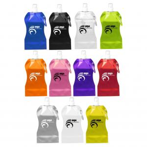 Wave Shaped 16.9 Oz. Collapsible Water Bottle with Carabiner