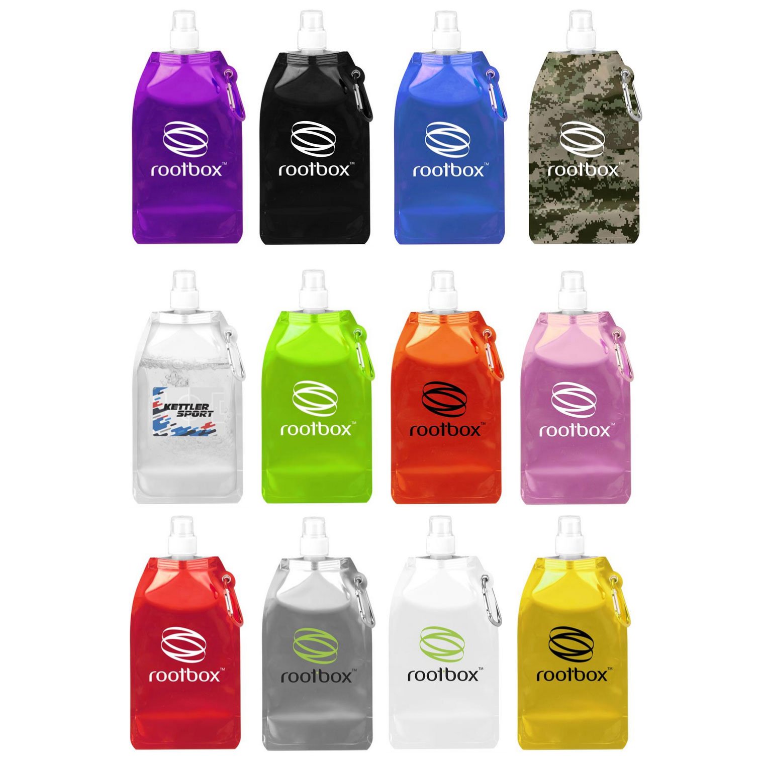 Rectangular 16.9 Oz. Collapsible Water Bottle with Carabiner