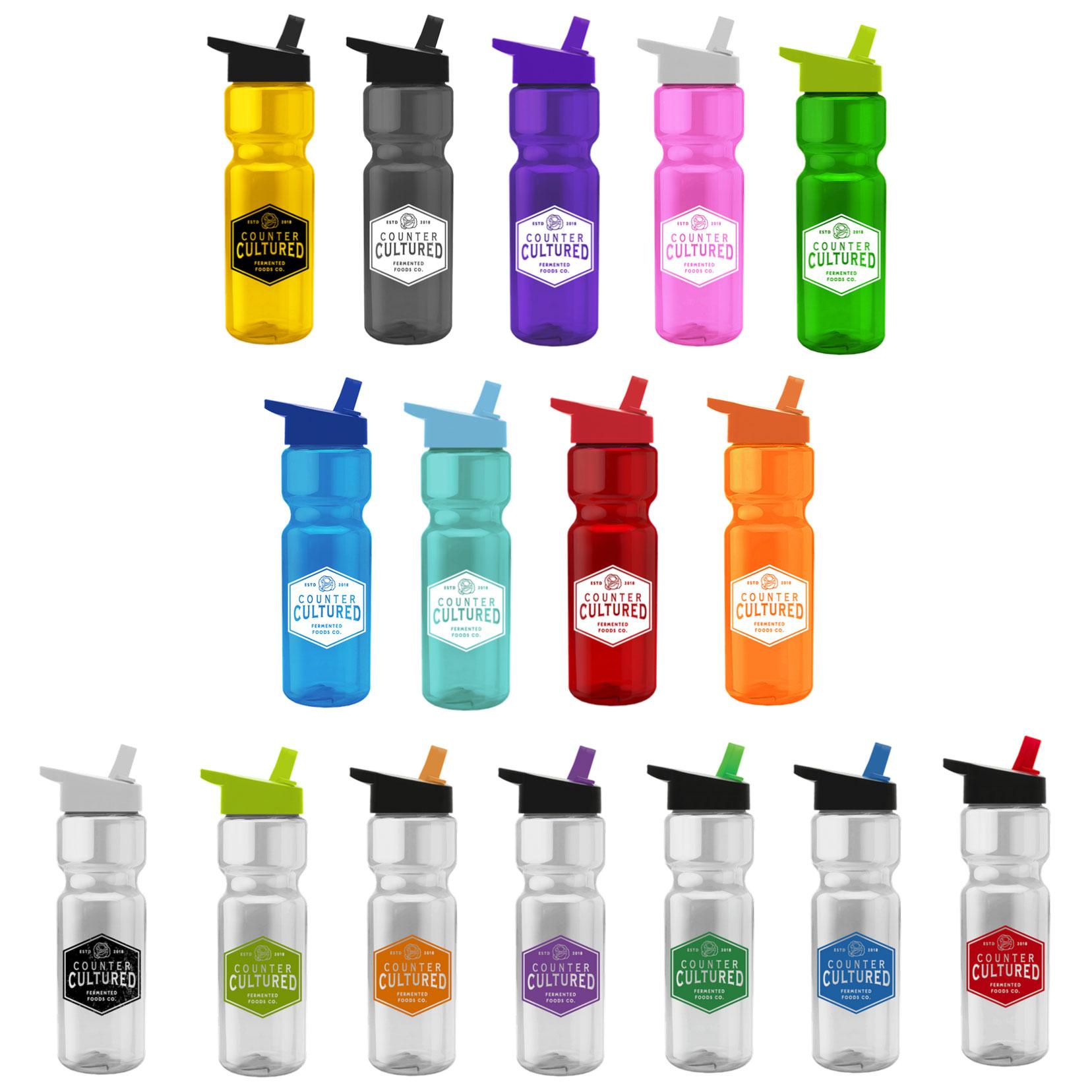 28 Oz. Transparent Flip-Straw Lid Bottle
