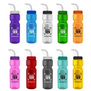 28 oz. Transparent Water Bottle Straw Lid