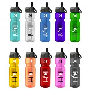 28 oz. Transparent Water Bottle Ring Straw Lid