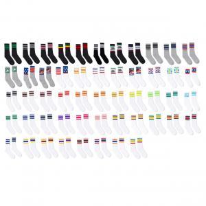 USA-Made Striped Crew Socks
