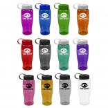 27 oz. Transparent Water Bottle Tethered Lid