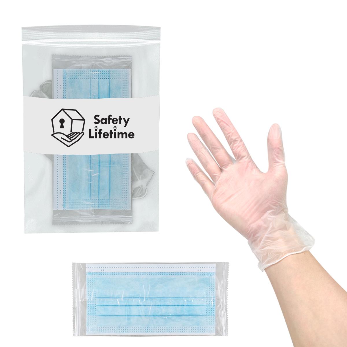 Non-Medical Mask & Vinyl Gloves Kit
