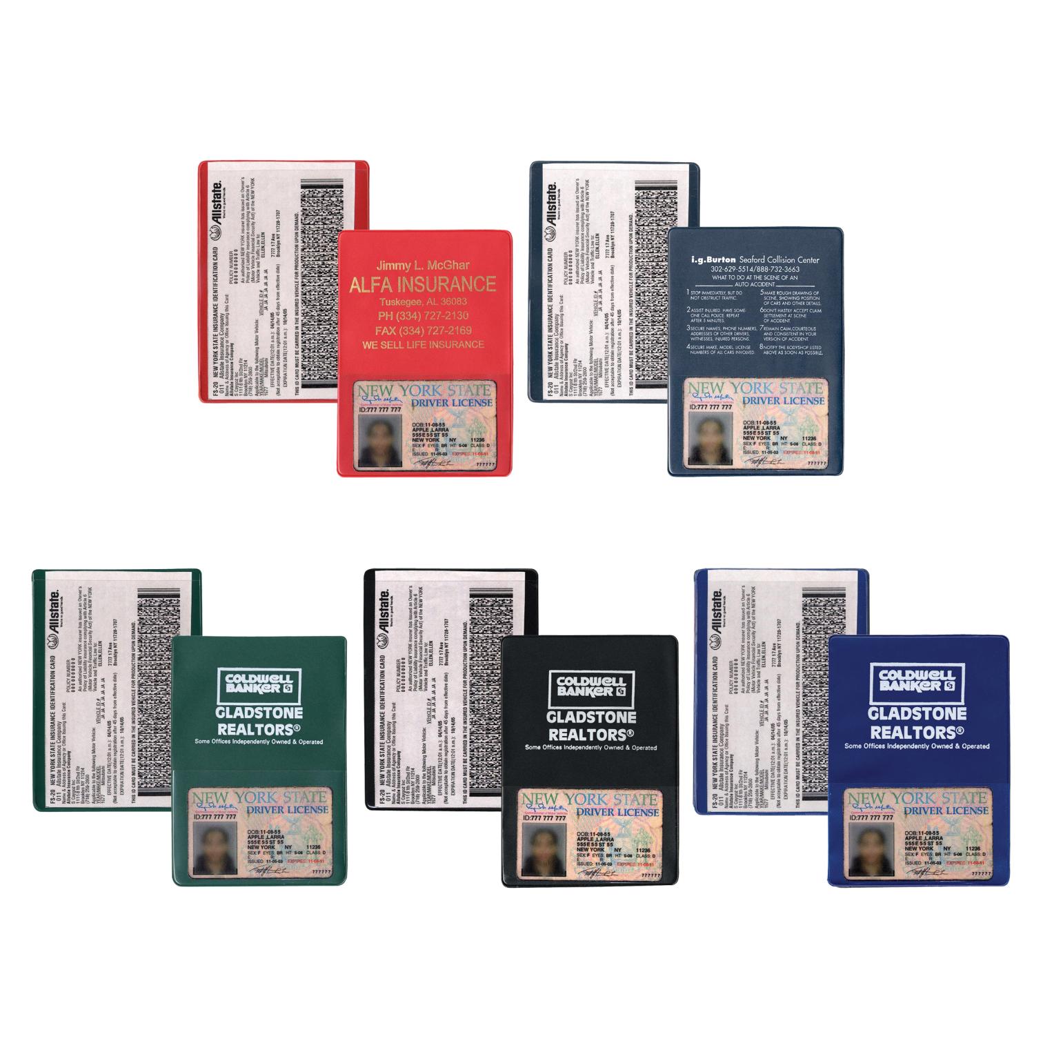 Auto Insurance ID Card Extra Pockets