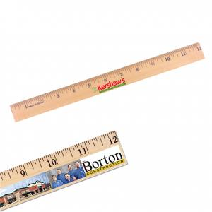 "12"" English Scale Wooden Ruler with Full Color Imprint"