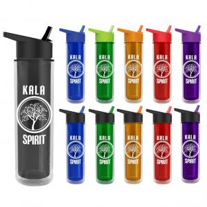 16 oz. Double Wall Insulated Bottle with Flip Straw Lid