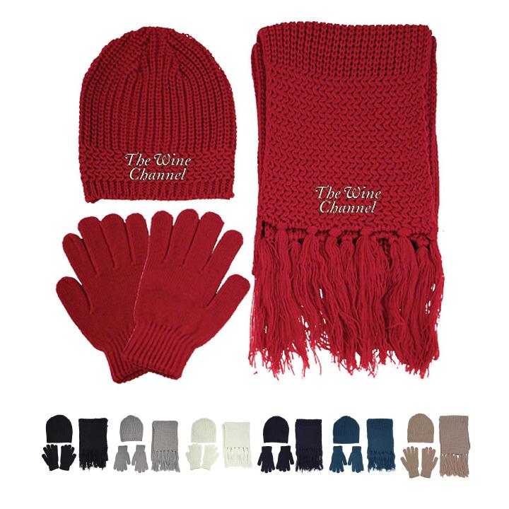 Winter Gloves Scarf  Ski Cap Gift Set