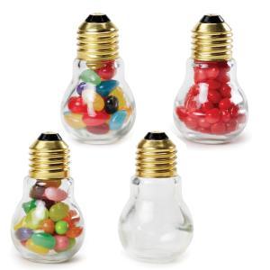 Small 1.9 oz Light Bulb Shaped Glass Candy Jars