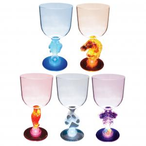 14oz Lighted Stem Goblet - Fish, Horse, Parrot, Paw, Racing