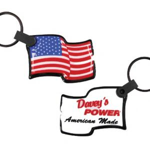 Waving USA Flag Shaped Soft Touch Key Tag Light