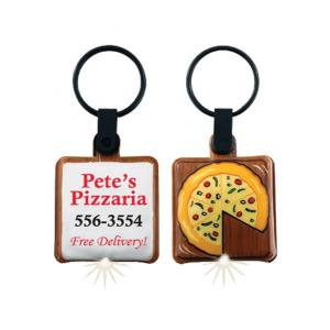 Pizza Shaped Soft Touch Key Tag Light