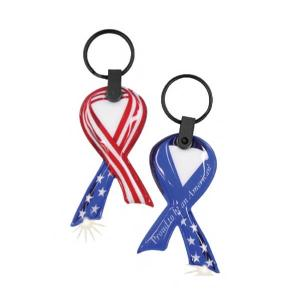 Red White and Blue USA Awareness Ribbon Key Tag Light
