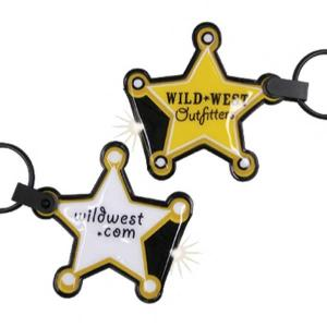 Sheriff Badge Shaped Key Tag Light