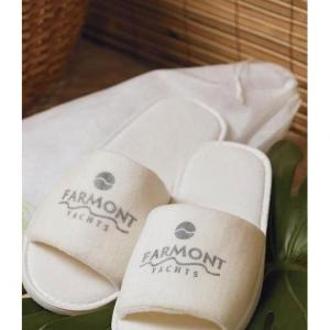 Open Toed Velour Spa Slippers