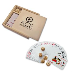 Wooden Game Box With Cards and Dice