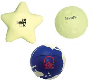 Star, Moon and Earth Glow In The Dark Stress Relievers