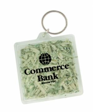 Shredded Currency Money Filled Square Keychain
