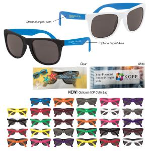 Neon-Brite Blues Brother Style Logo Sunglasses
