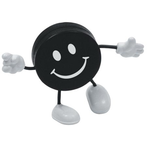 Happy Hockey Puck Stress Reliever