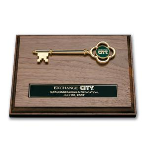 Wood Plaque W/ Golden Key