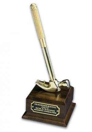 Wood Base 88 inch Gold Hammer Award with Blank Plate