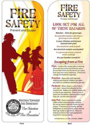 Fire Safety Prevent And Escape Bookmark