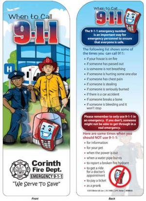 """""""When To Call 911"""" Kid's Bookmark"""