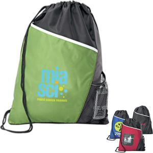 Custom Printed Drawstring Backpack with water bottle holder