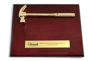 Gold Plated Hammer Wood Plaque
