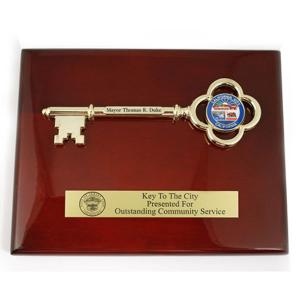 Wood Plaque with Gold Plated Key