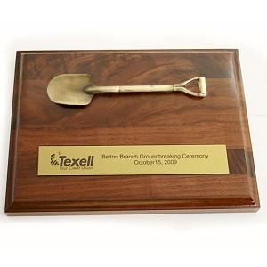 Wood Plaque with Groundbreaking Shovel