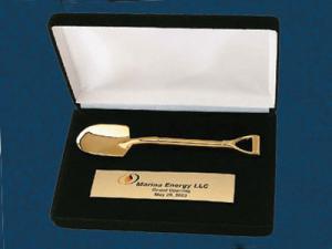 Gold Shovel in Black Presentation Box