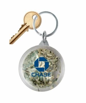 Shredded Currency Money Filled Round Keychain Tag